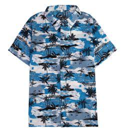 Men's Light Blue Motorcycle Print Shirt ,Size S-2XL 12 pack