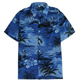 Men's Blue Hawaiian Print Shirt Size Plus Size, 2XL-4XL 12 pack