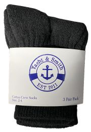 Yacht & Smith Kids Value Pack of Cotton Crew Socks Size 2-4 Black BULK PACK 60 pack