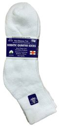 Yacht & Smith Men's Loose Fit NoN-Binding Soft Cotton Diabetic Quarter Ankle Socks,size 10-13 White 6 pack