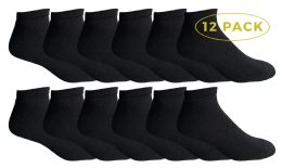 Yacht & Smith Men's No Show Ankle Socks, Premium Quality Cotton. Size 10-13 Black 12 pack