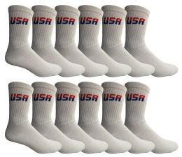 Yacht & Smith Men's USA White Crew Socks Size 10-13 12 pack