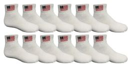 Yacht & Smith Kids USA American Flag White Low Cut Ankle Socks, Size 6-8 12 pack