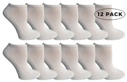 Yacht & Smith Kids No Show Ankle Socks Size 4-6 White 12 pack