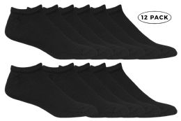 Yacht & Smith Kids No Show Ankle Socks Size 4-6 Black 12 pack