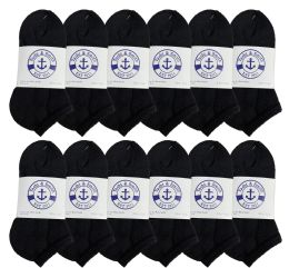 Yacht & Smith Kids No Show Ankle Socks Size 6-8 Black 12 pack