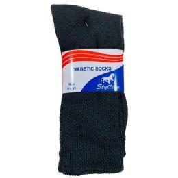 Three Pack Diabetic Crew Sock Black 36 pack