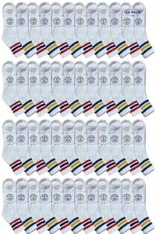 Yacht & Smith Men's King Size Cotton Sport Ankle Socks Size 13-16 With Stripes