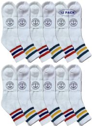 Yacht & Smith Men's King Size Premium Cotton Sport Ankle Socks Size 13-16 With Stripes 12 pack