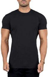 Mens Cotton Crew Neck Short Sleeve T-Shirts Black, XX-Large 24 pack