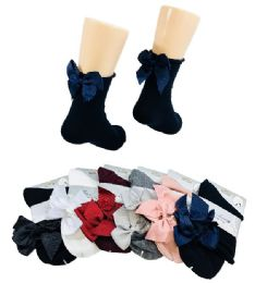 Ladies Fashion Socks Rolled Top with Bow 36 pack