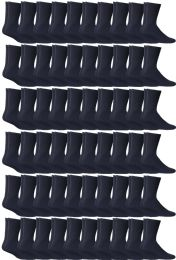 Yacht & Smith Women's Cotton Sports Crew Socks Terry Cushioned, Size 9-11, Navy