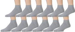 Yacht & Smith Men's No Show Ankle Socks, Cotton Premium Quality. Size 10-13 Gray 12 pack