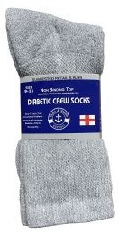 Yacht & Smith Women's Cotton Diabetic NoN-Binding Crew Socks - Size 9-11 Gray 6 pack