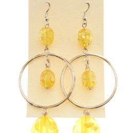Silver Tone And Yellow Acrylic Dangle Earrings With Bead Accents 36 pack