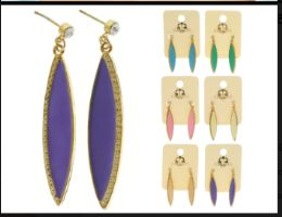 Multi Color And Gold Tone Metal Dangle Earrings With Drop Accents 36 pack