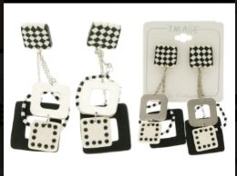 Dice Dangle Earrings Multi Color And Silver Tone 36 pack