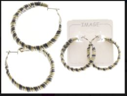 Striped Hoop Earrings Multi Color And Silver Tone 36 pack