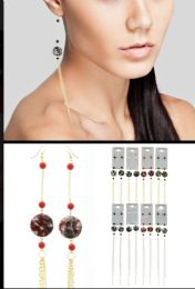 Splatter Dangle Earrings With Tassel Accents Tri Tone And Multi Color 36 pack