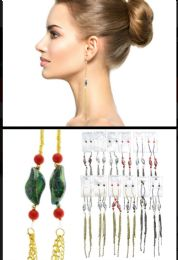 Tri Tone And Multi Color Metal Dangle Earrings With Tassel Accents 36 pack