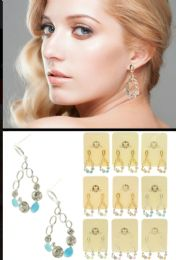 Dual Tone And Multi Color Metal Dangle Earrings With Crystal Accents 36 pack