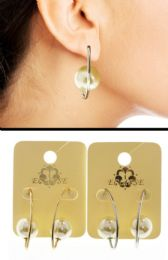 Dual Tone And White Metal Dangle Earrings With Bead Accents 36 pack