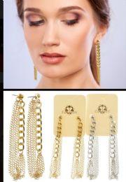 Chain Hoop Earrings Dual Tone 36 pack