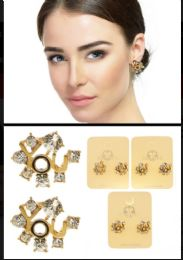YOU Stud Earrings With Crystal Accents Gold Tone And Multi Color 36 pack
