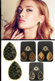 Snake Skin Reptile Stud Earrings Multi Color And Gold Tone 36 pack
