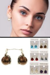Multi Color And Silver Tone Metal Stud Earrings With Crystal Accents 36 pack