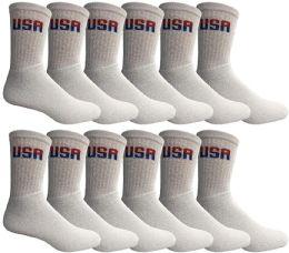 Yacht & Smith Kids Cotton Crew Socks White Usa Size 4-6 12 pack