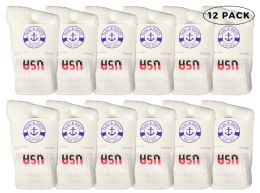 Yacht & Smith Kids Cotton Crew Socks White Usa Size 6-8 12 pack