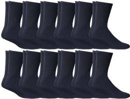 Yacht & Smith Kids Cotton Crew Socks Navy Size 6-8