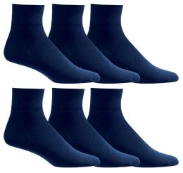 Yacht & Smith Men's Loose Fit NoN-Binding Soft Cotton Diabetic Quarter Ankle Socks,size 10-13 Navy 6 pack