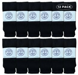 Yacht & Smith Women's Cotton Tube Socks, Referee Style, Size 9-15 Solid Black 12 pack