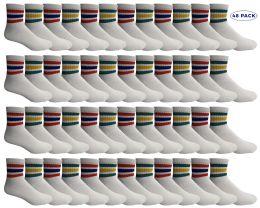 Yacht & Smith Men's King Size Cotton Sport Ankle Socks Size 13-16 With Stripes