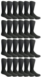 Yacht & Smith Mens Fashion Designer Dress Socks, Cotton Blend, Textured Design Premium Knit (24 Pairs Black) 24 pack