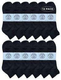 Yacht & Smith Men's King Size Premium Cotton Sport Ankle Socks Size 13-16 Solid Black 12 pack