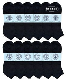 Yacht & Smith Men's King Size No Show Ankle Socks Size 13-16 Black 12 pack