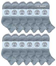 Yacht & Smith Men's Premium Cotton Sport Ankle Socks Size 10-13 Solid Gray 12 pack