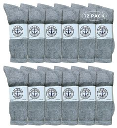 Yacht & Smith Kids Premium Cotton Crew Socks Gray Size 4-6 12 pack
