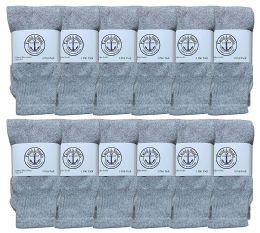 Yacht & Smith Kids Solid Tube Socks Size 6-8 Gray 12 pack
