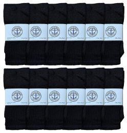 Yacht & Smith Kids Solid Tube Socks Size 6-8 Black 12 pack