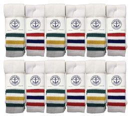 Yacht & Smith Kids Cotton Tube Socks Size 6-8 White With Stripes