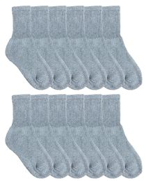 Yacht & Smith Kids Cotton Crew Socks Gray Size 6-8 12 pack