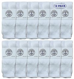 Yacht & Smith Women's Cotton Tube Socks, Referee Style, Size 9-15 Solid White 12 pack