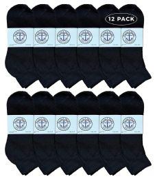 Yacht & Smith Men's Premium Cotton Quarter Ankle Sport Socks Size 10-13 Solid Black 12 pack