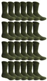 Yacht & Smith Military Grade Wick Dry Crew Socks ,Heavy Duty Boot Sock, Army Green 24 pack