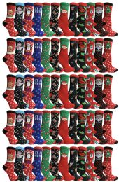 Yacht & Smith Printed Holiday Christmas Socks, Sock Size 9-11 60 pack