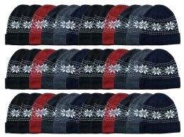 Yacht & Smith Unisex Snowflake Fleece Lined Winter Beanie 6 Colors 36 pack